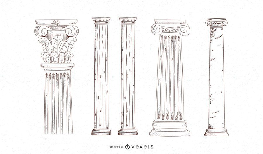 Hand drawn pillar set