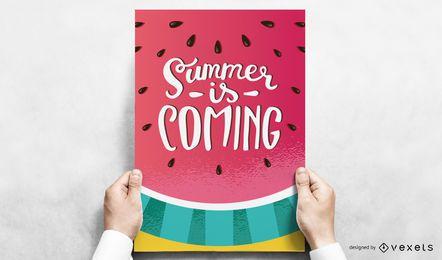 Design de cartaz de verão melancia