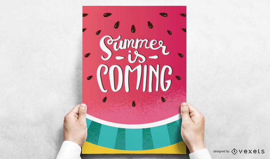 Diseño de póster de verano de sandía