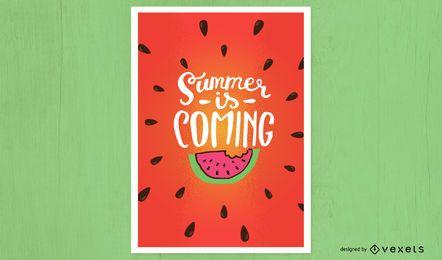 O verão está chegando design de cartaz
