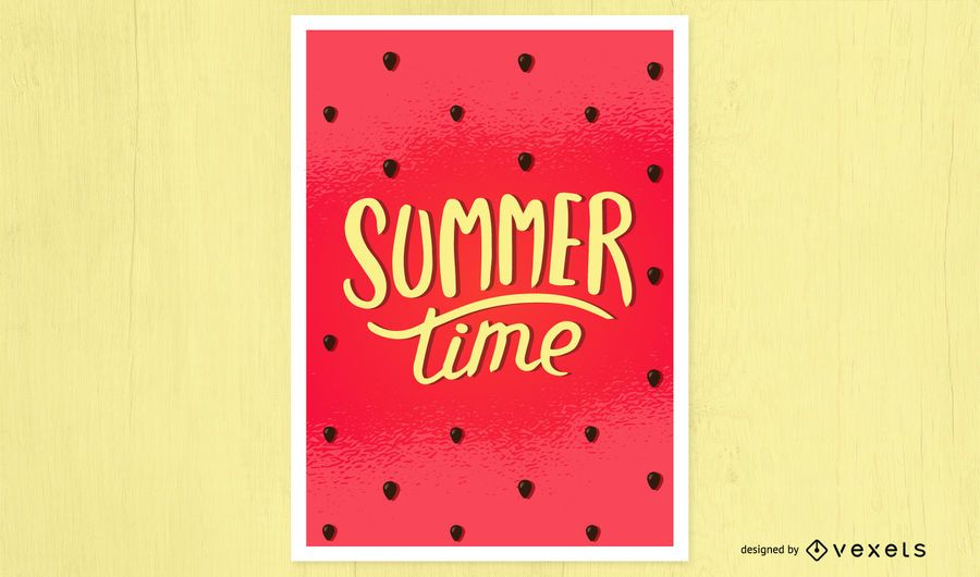 Diseño de póster de sandía de verano