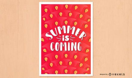 Verão chegando design de cartaz de melancia