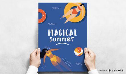 Diseño de póster de piscina de verano mágico