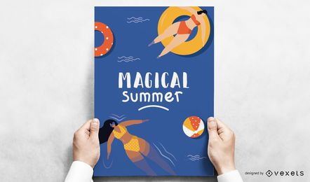 Magisches Sommerpool-Plakatdesign