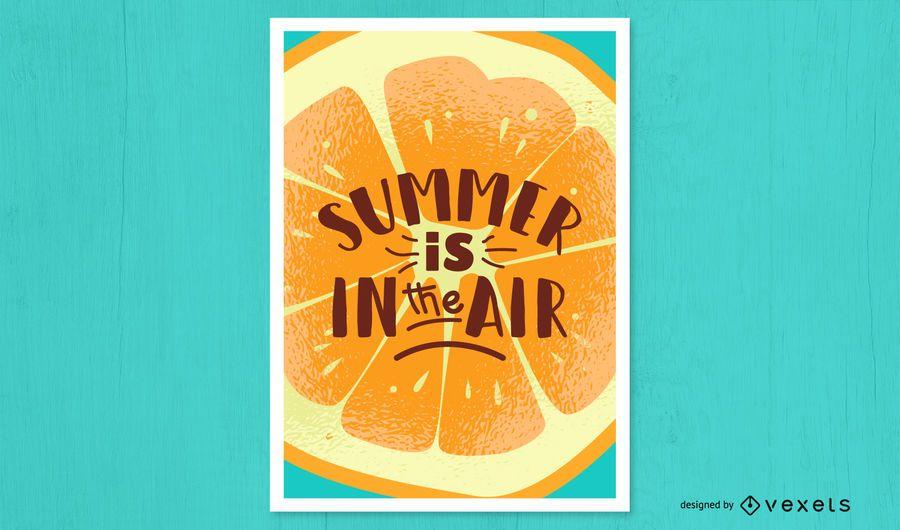 Cartel naranja de aire de verano
