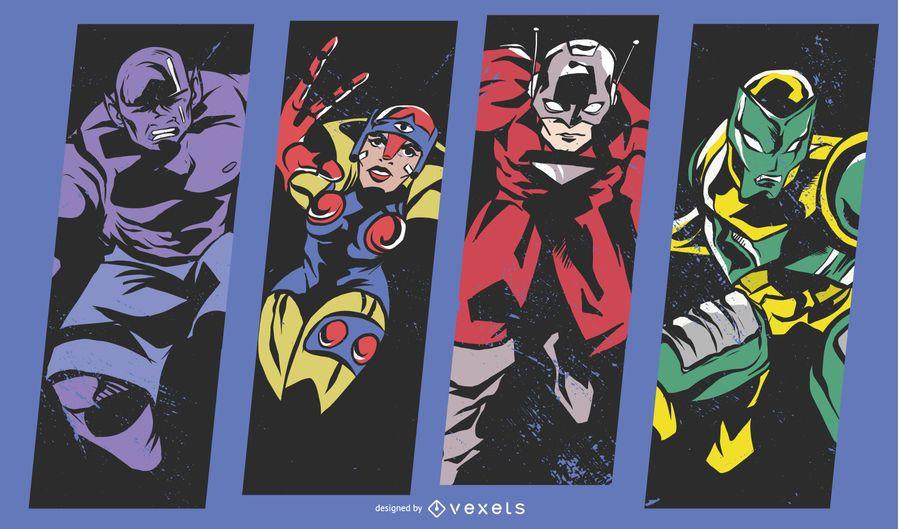 Ilustración cómica de superhéroe