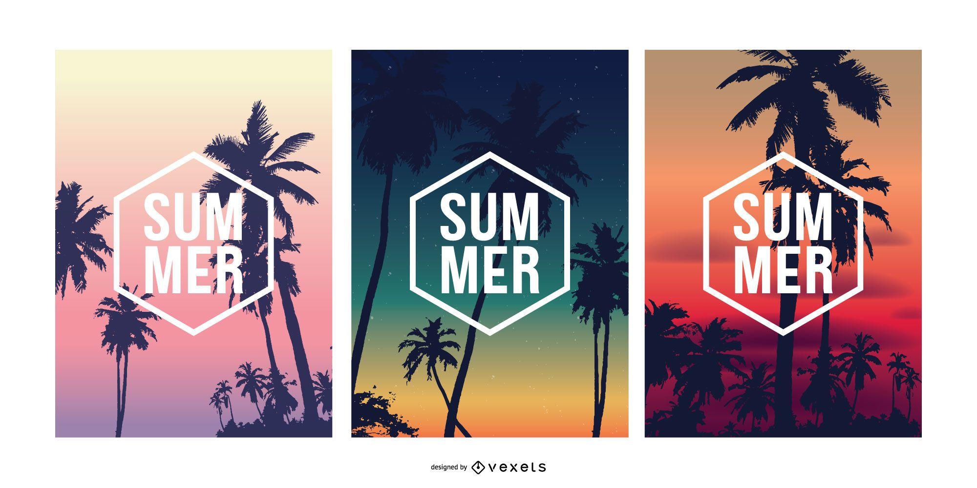 Conjunto de carteles de puesta de sol de verano