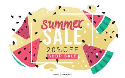 Banner de venda verão melancia