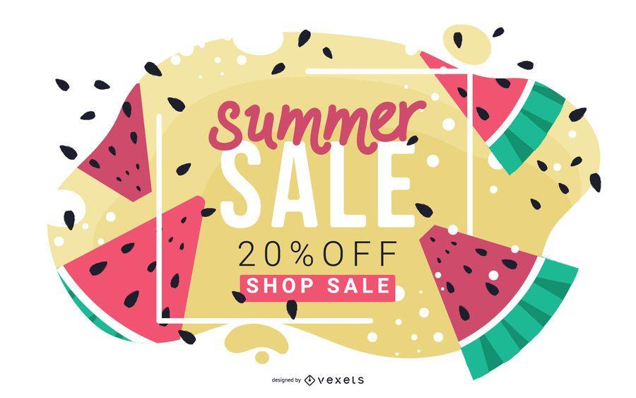 Banner de venta de verano de sandía