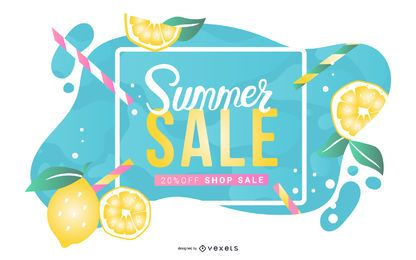 Summer sale lemonade banner
