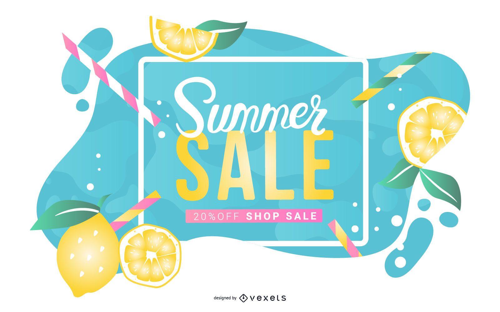 Banner de limonada de venta de verano