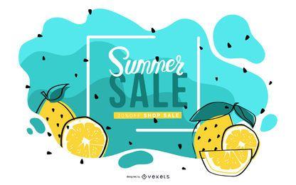 Diseño de banner de venta de verano de limón