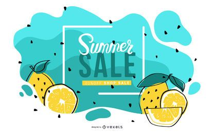 Projeto de bandeira de venda verão limão