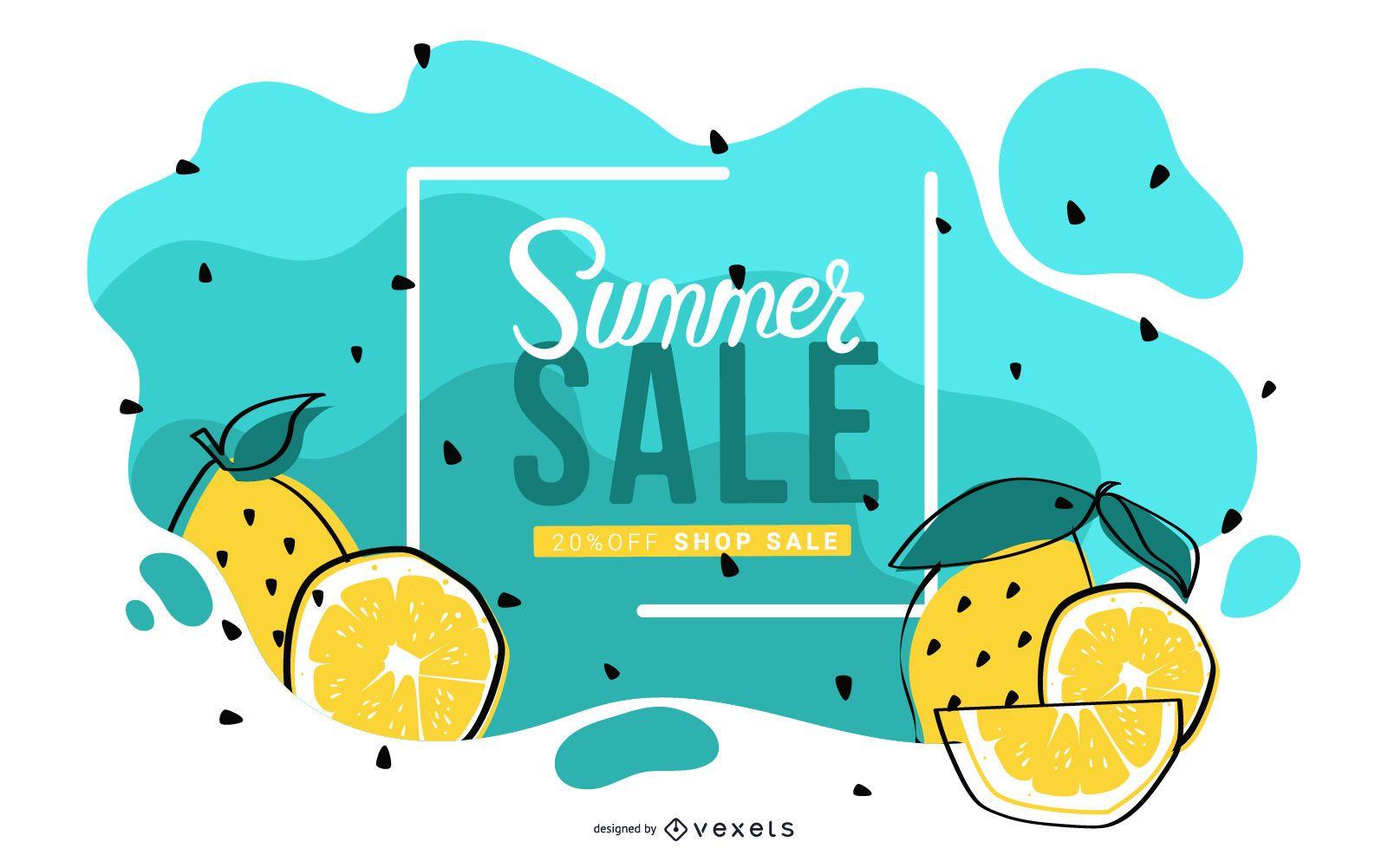 Lemon summer sale banner design