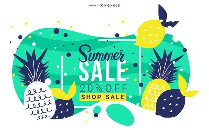 Diseño de banner de frutas de venta de verano