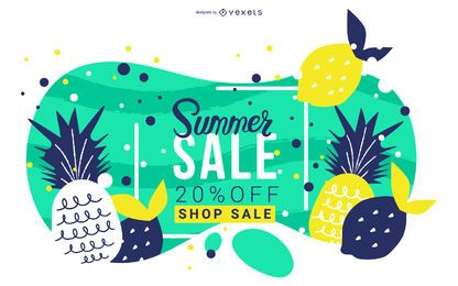 Summer sale fruits banner design