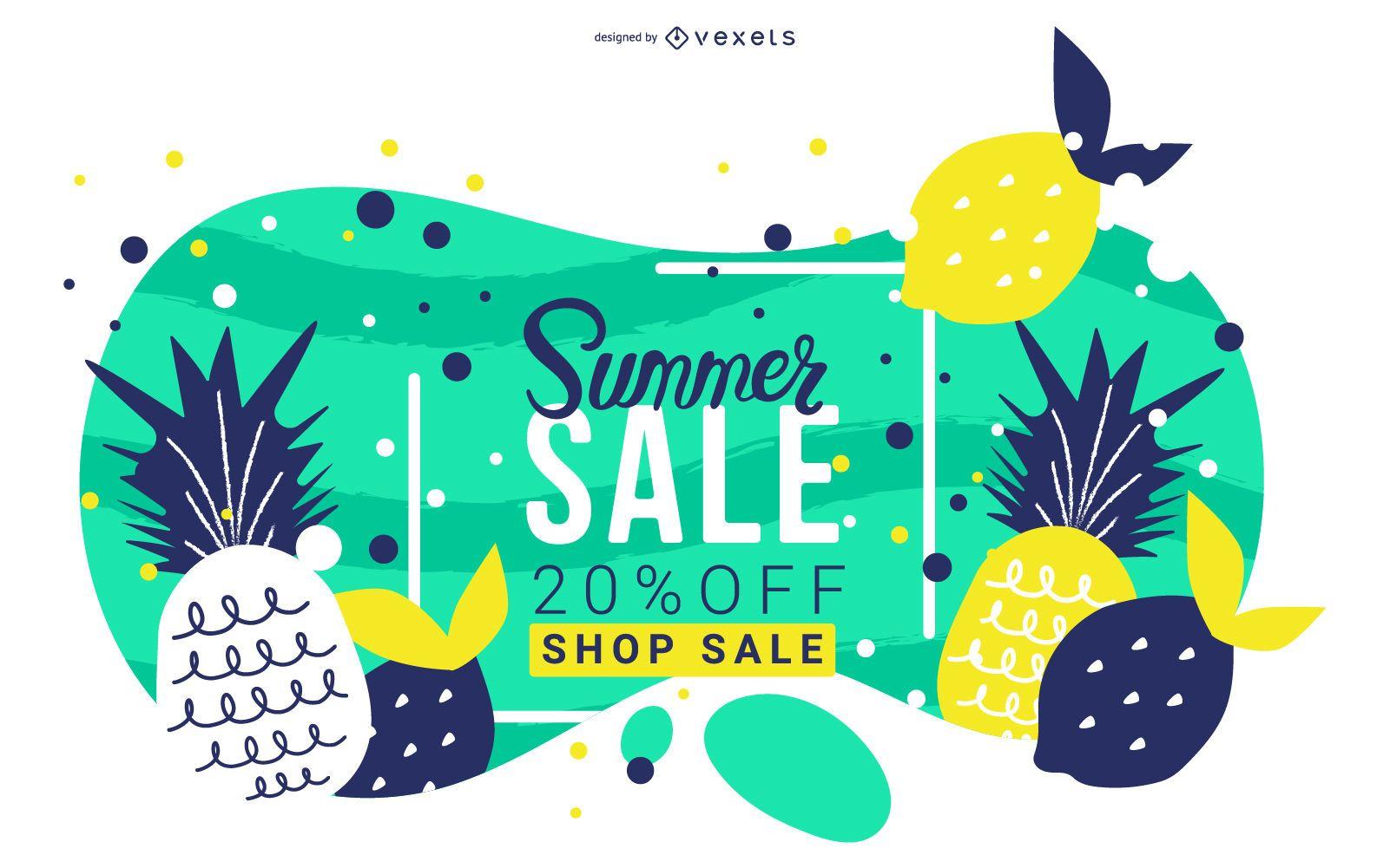 Summer sale fruits banner design