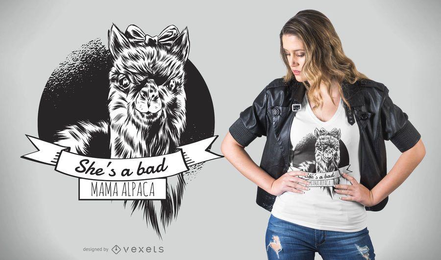 Diseño de camiseta de mamá de alpaca