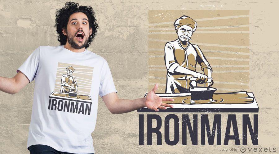 Homem, passar roupa, t-shirt, desenho
