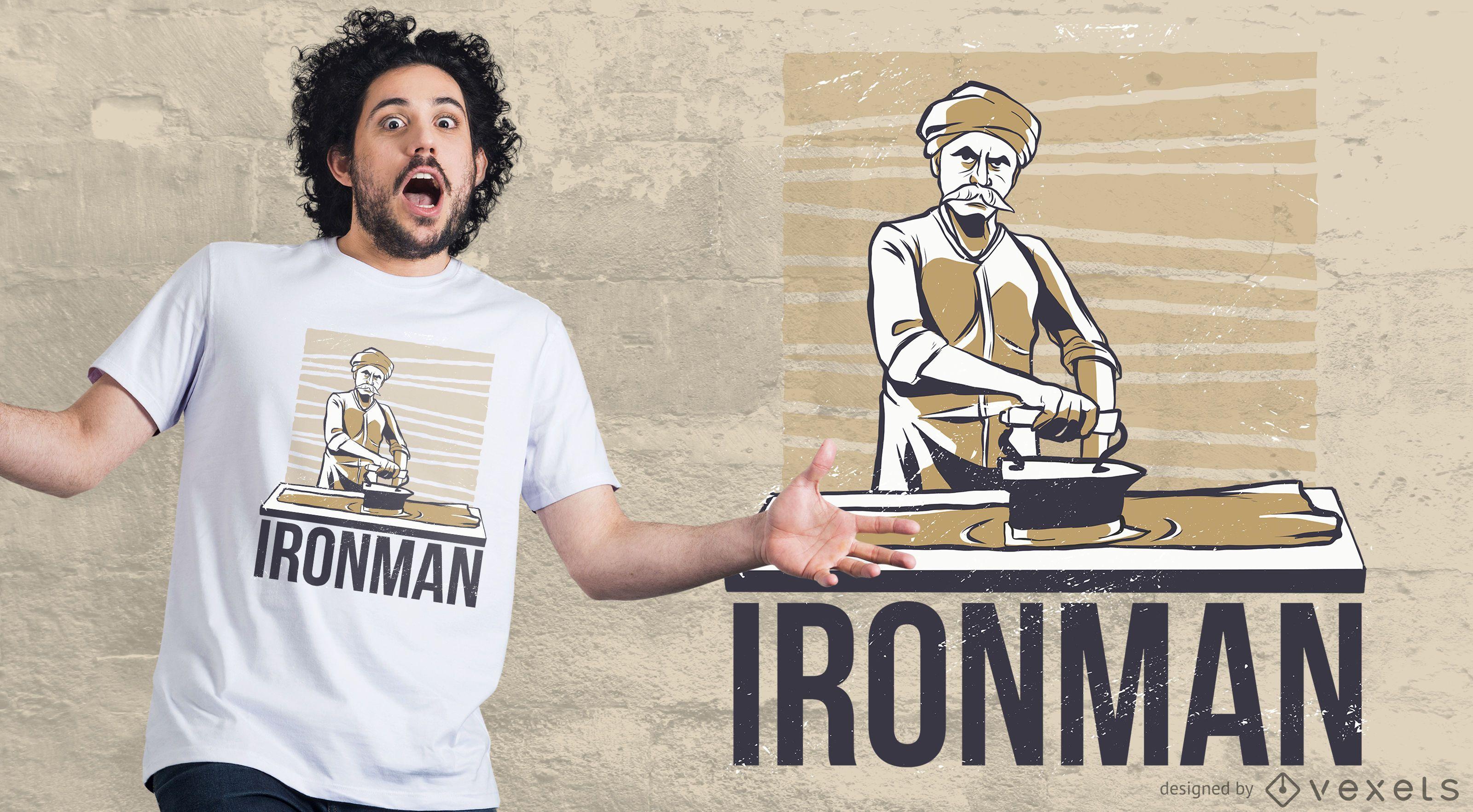 Man Ironing T-shirt Design
