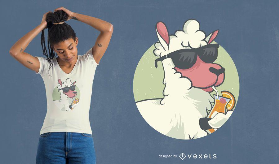Diseño de camiseta Cool Llama
