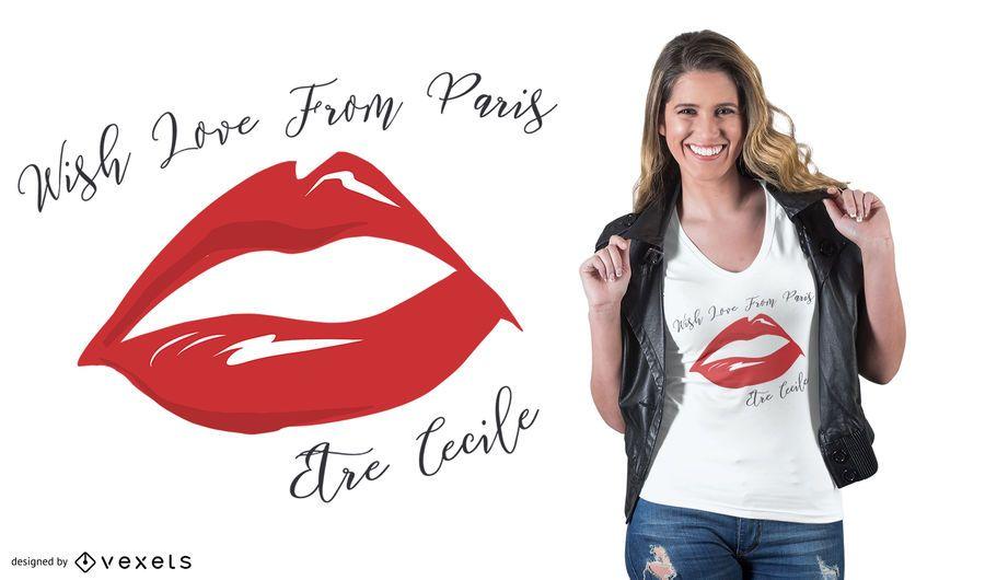 Diseño de camiseta Love Paris Quote