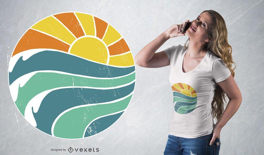 Diseño de camiseta de olas de sol de verano.