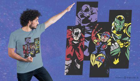 Diseño de camiseta de superhéroes