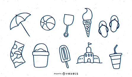 Conjunto de iconos de línea de tema de verano