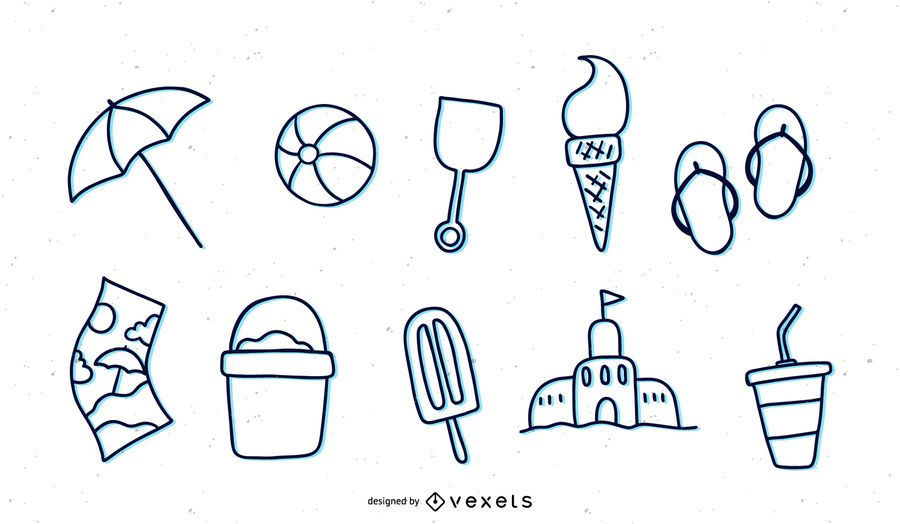 Sommer Thema Linie Symbole festgelegt