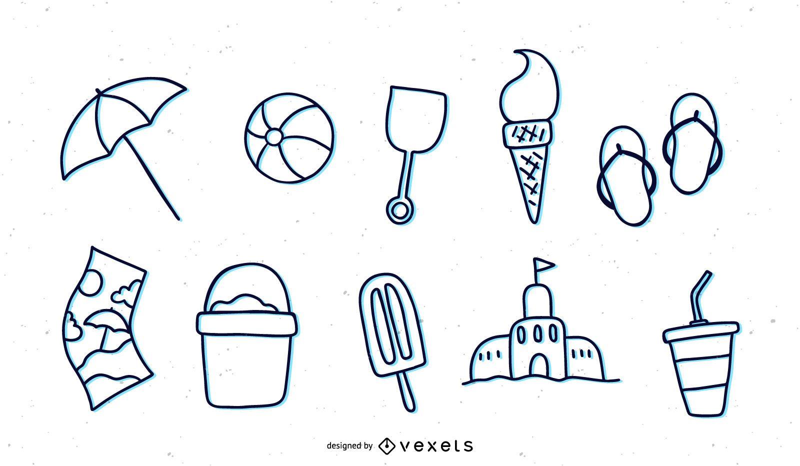 Summer theme line icons set