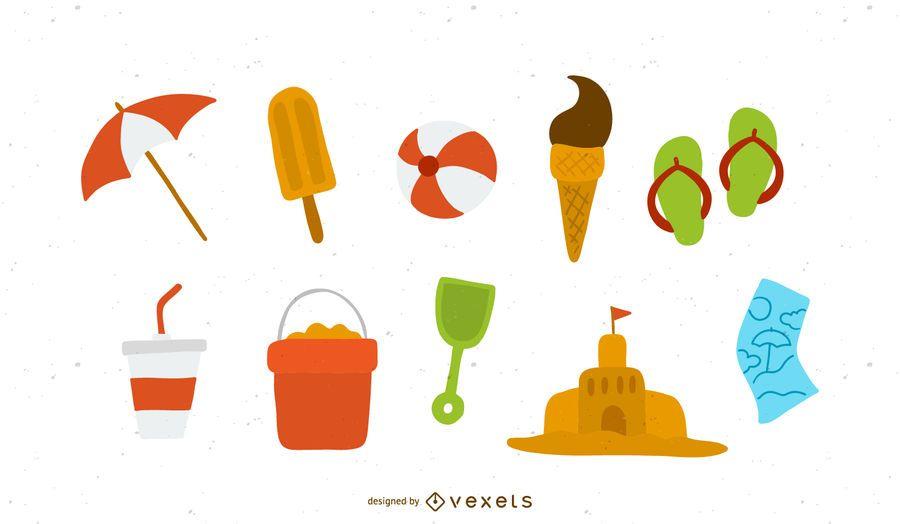 Conjunto de ícones de verão e praia