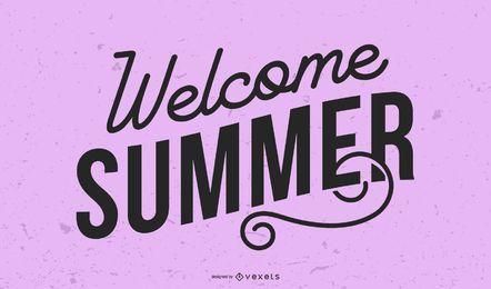 Bienvenida título gráfico de verano.