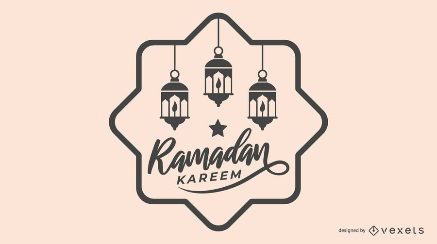 Black and White Ramadan Illustration