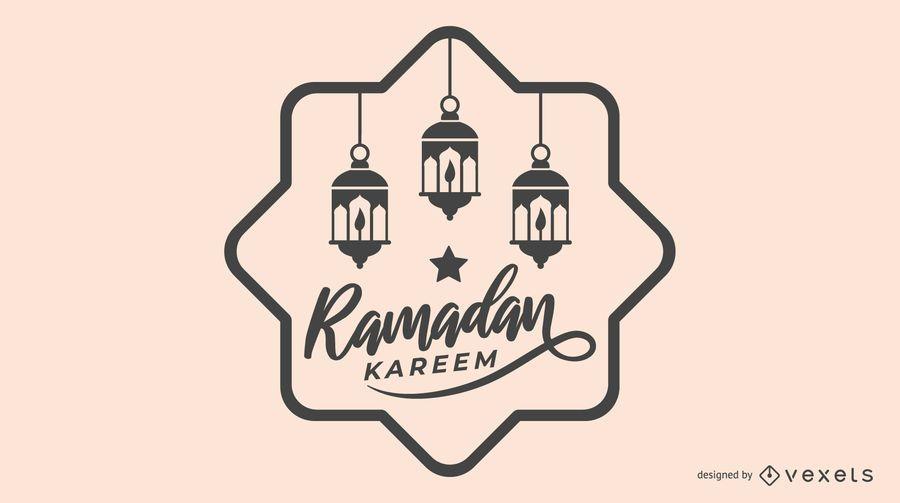 Ilustración de Ramadán en blanco y negro