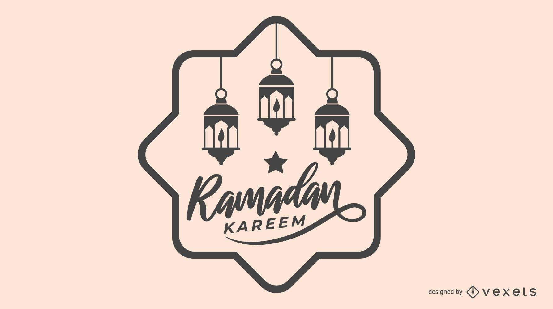 Black and White Ramadan Illustration