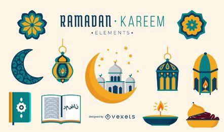 Coleção de elementos Ramadan Kareem