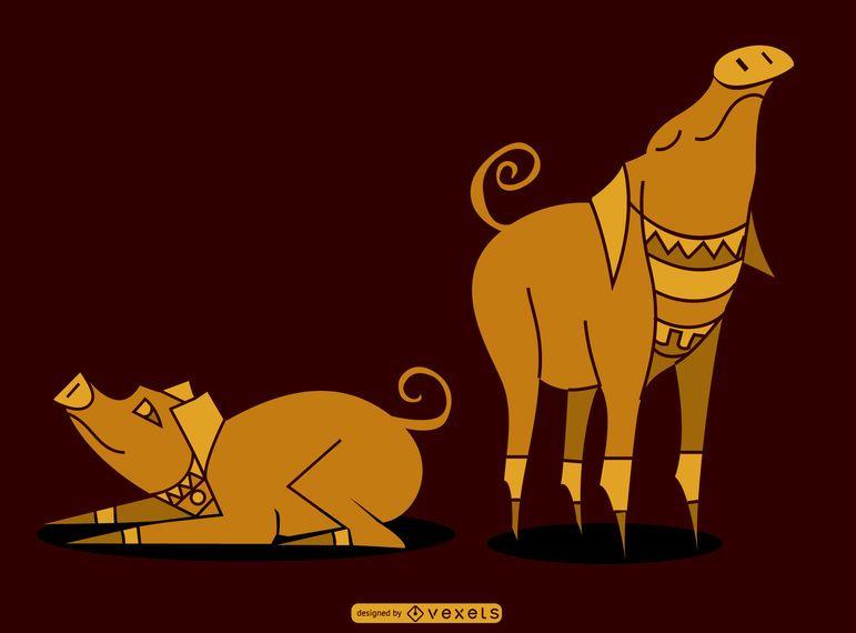 Diseño de cerdo egipcio
