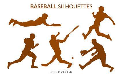Set de siluetas de beisbol