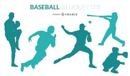 Conjunto de silhuetas de beisebol
