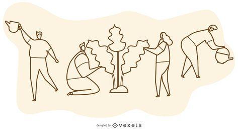Ilustración de dibujos animados de línea de plantación de árboles