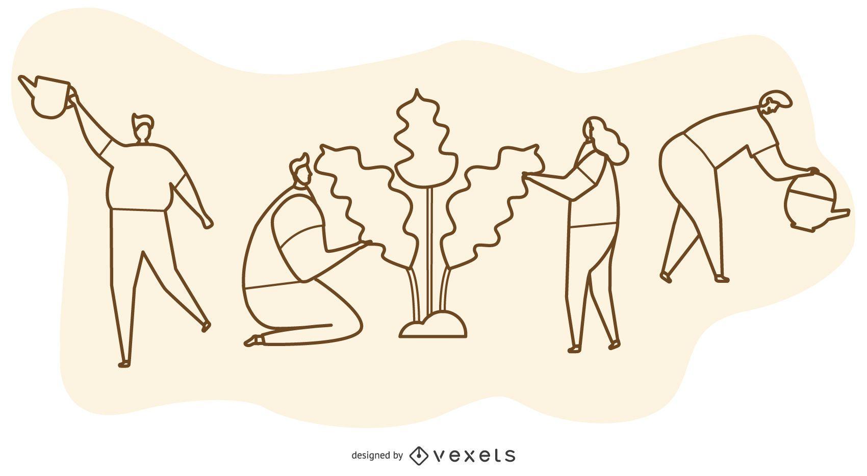 Tree Planting Line Cartoon Illustration