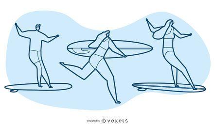 Conjunto de vectores de personajes de surf