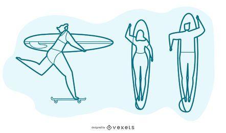Conjunto de vectores de personas de surf
