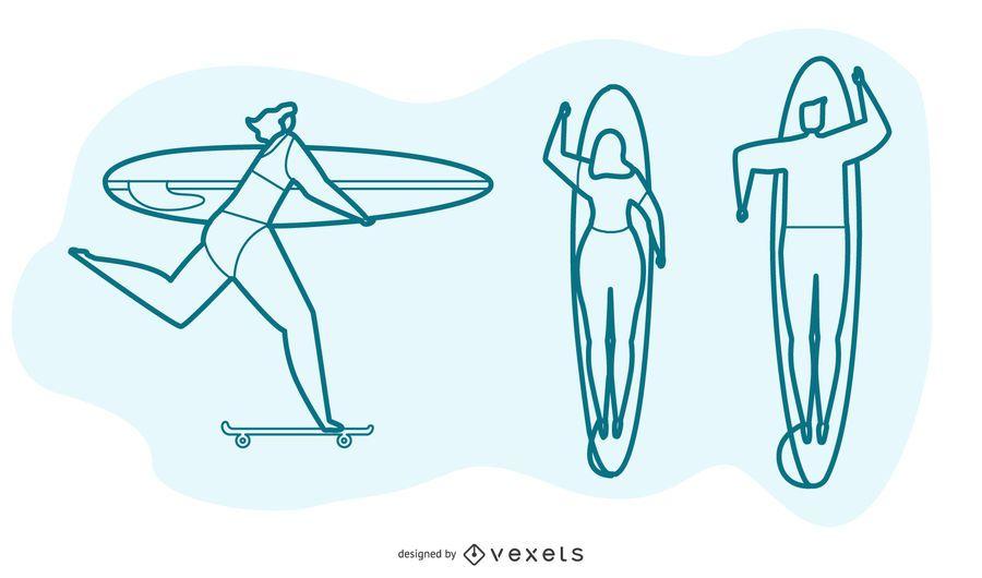 Conjunto de vetores de pessoas surf