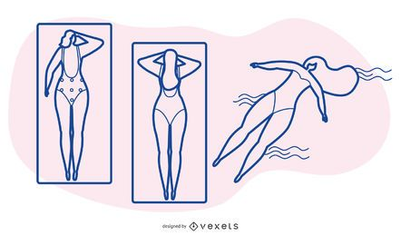 Conjunto de desenhos animados de banho de sol