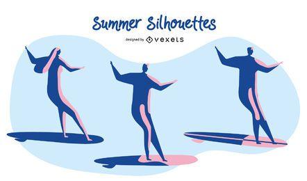 Silhuetas de surf de verão