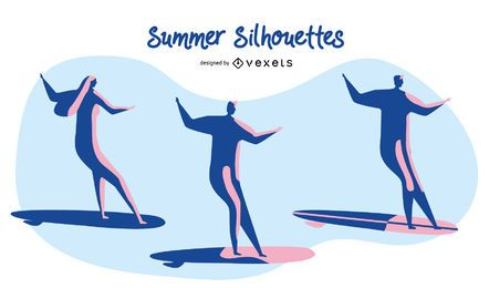 Summer Surfing Silhouettes