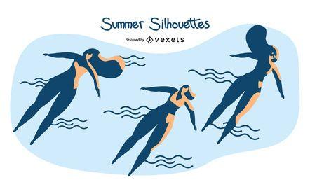 Conjunto de pessoas de silhueta de verão