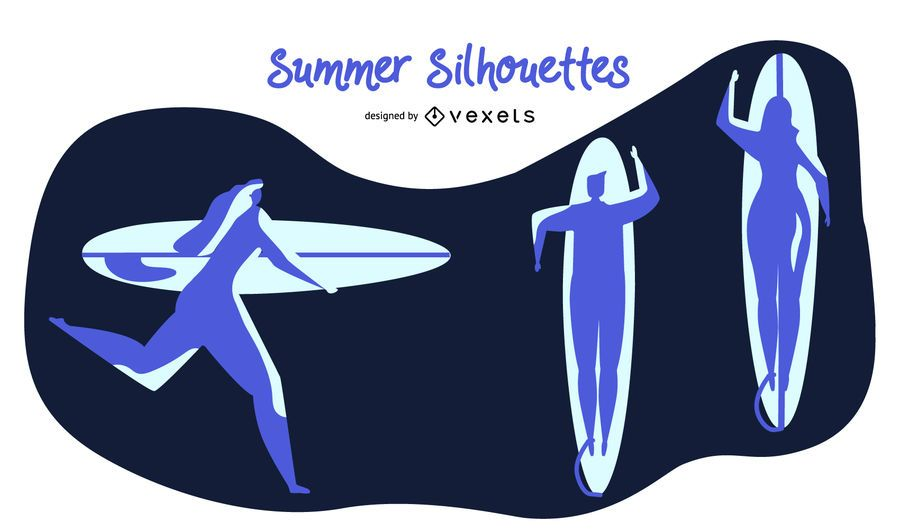 Summer Blue Silhouette Set
